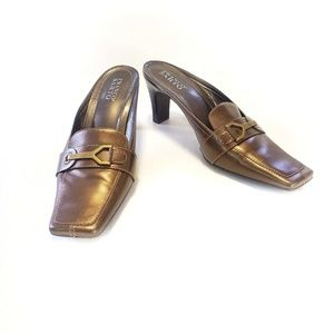 10 Franco Sarto Metallic Leather Mule Slide Heel